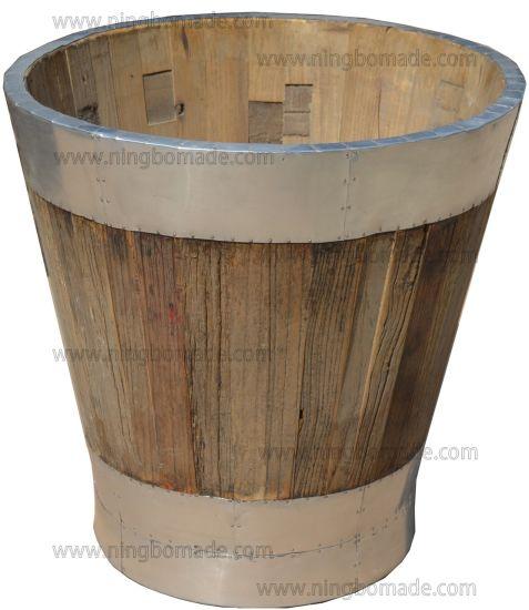 Vintage Industrial Multi Function Furniture Nature Aluminum Old Reclaimed Elm Wood Round Flower Bucket