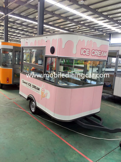 Pink Color Mobile Catering Trailer with Insulation Material