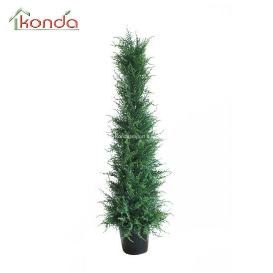 Artificial Leaf Topiary Grass Bonsai in Plastic Pot Custom Size