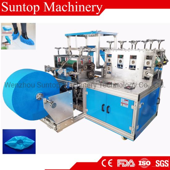 High Output and Quality About PP Spunbond Non Woven Plastic Bouffant Shoe Cover Making Machine