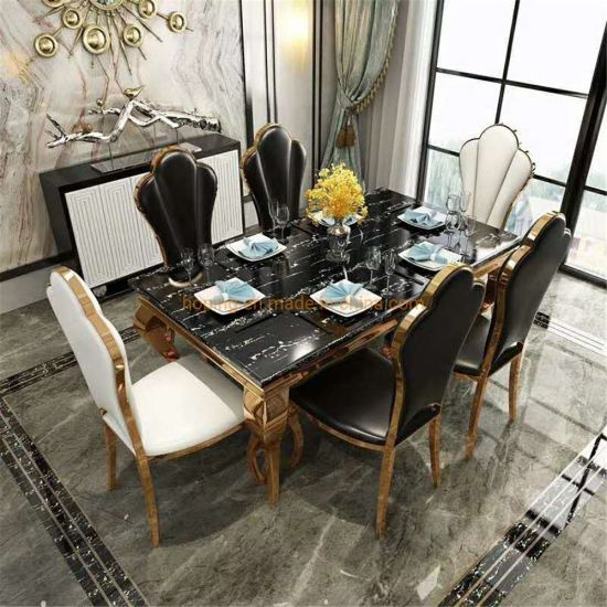 Modern New Design Hotel Rectangle Dining Table with Glass or Marble Top Home Furniture