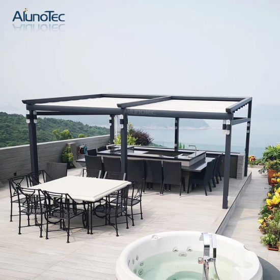 New Design Electric Gazebo Retractable Pergola Awning with Curtain