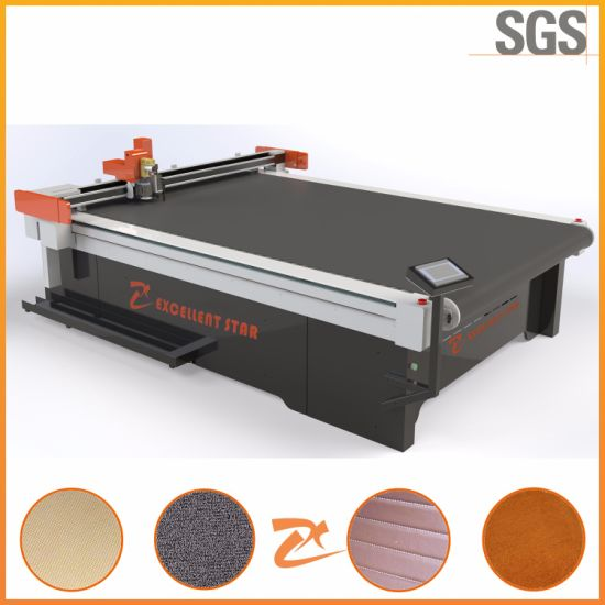 Oscillating / Vibrating Knife Automatic Feeding Car Carpet Cutting Machine