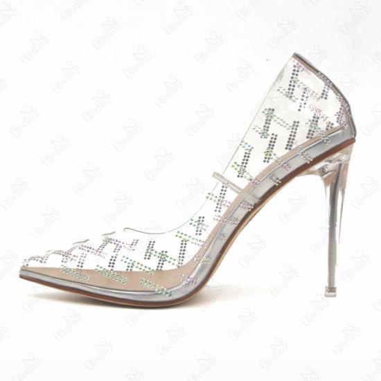 China Women Heels PVC Clear High Heels
