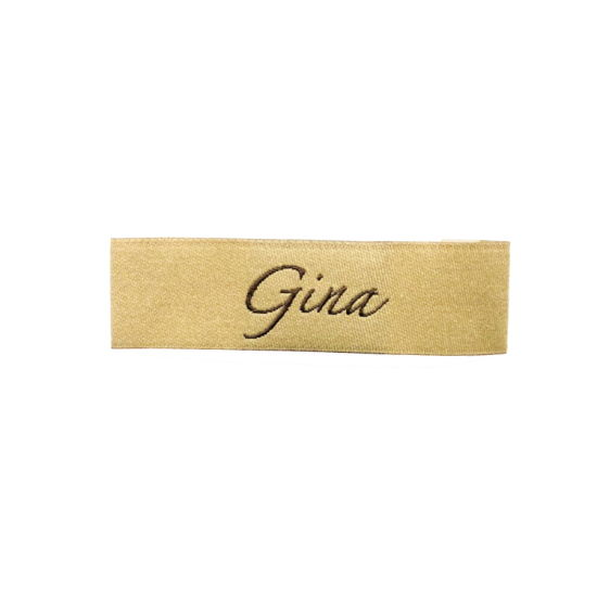 Wholesale Sew on Custom Logo End Folded Woven Damask Collar Labels for T-Shirt/Shirt