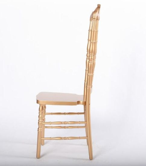 China Solid Wood High Back Rose Gold Napoleon Chair For Wedding And