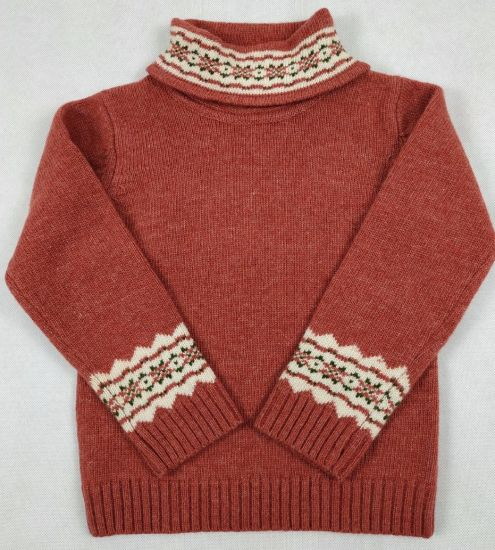Boy's Mock Neck Long Sleeves Sweater Pullover with Intarsia Knit