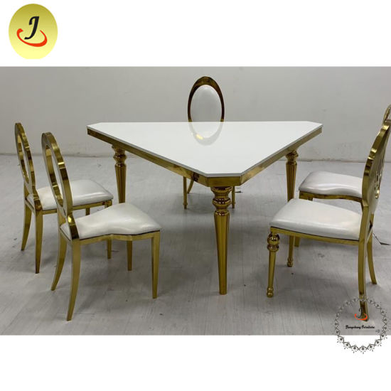 China Triangle Stainless Steel Mdf Top Dining Table For Wedding Banquet Events China Stainless Steel Table Gold Stainless Steel Table
