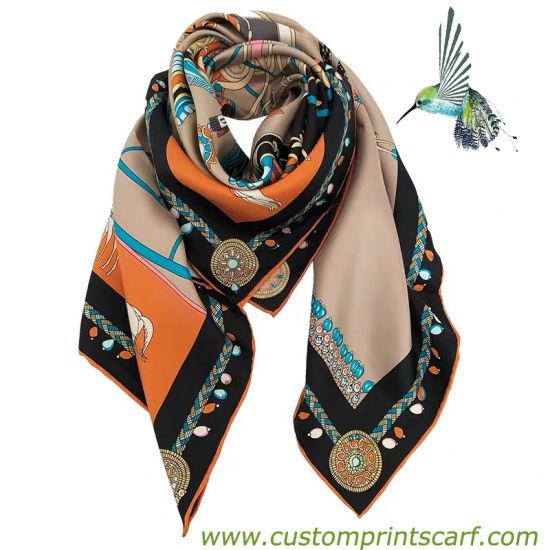 100% Customized Silk Scarf with Customer Logo