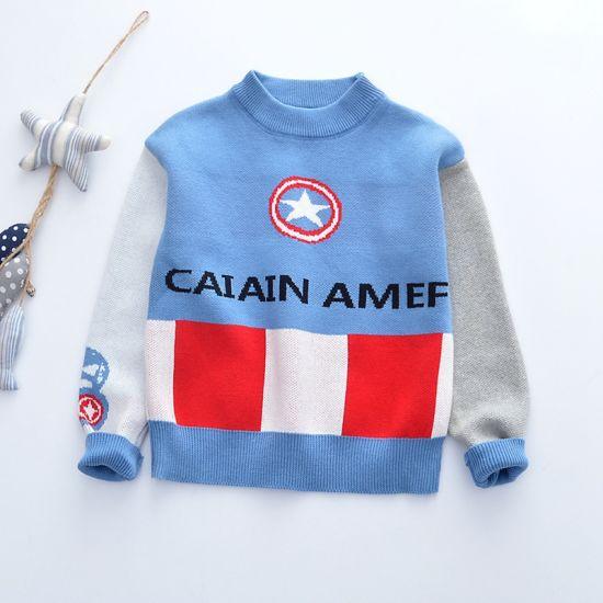 Cotton Custom Kids Sweater Captain America Design Pullover Sweater