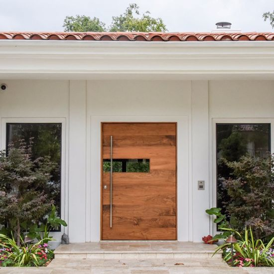 Residential Custom Mahogany Modern Front Entry Pivot Wood Doors