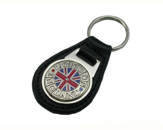 Business Gifts Genuine Leather Metal Keychain with Customize Logo (YB-K-002)