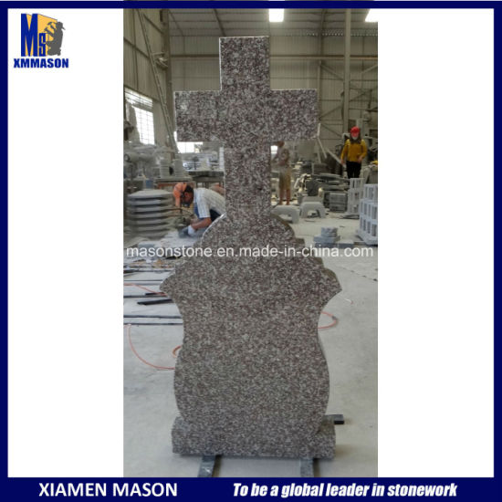 G664 Cheap Granite Headstone with Cross Carved Shape pictures & photos