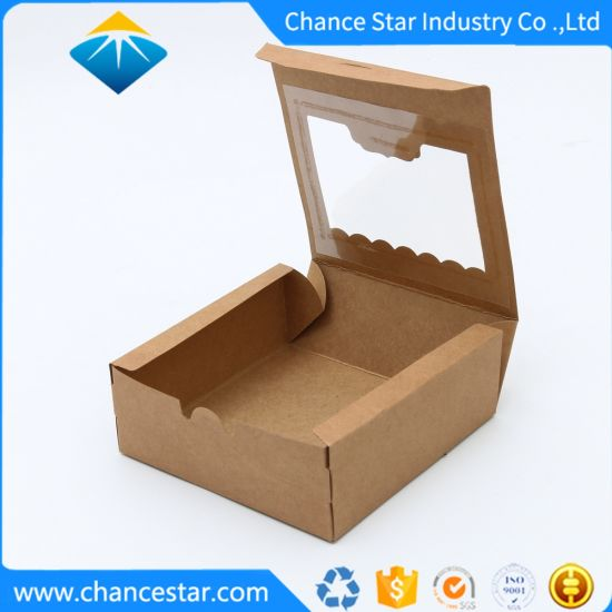 Custom Recycled Kraft Paper Cake Box with Clear Lid