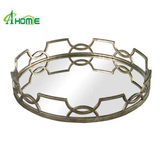 Iron Round Mirror Polished Serving Tray