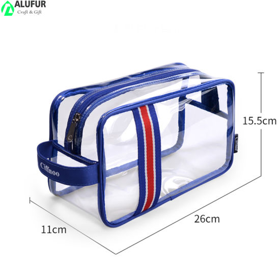 Traveling Transparent Toiletry Tote Case with Side Handle