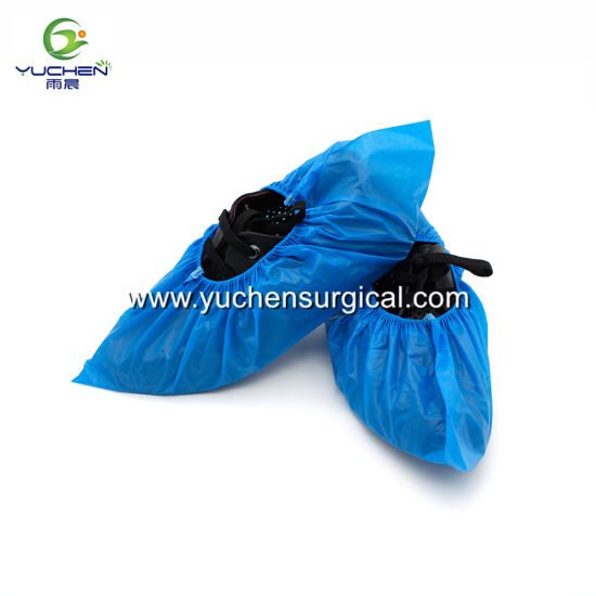 Disposable Blue Lightweight PE Overshoes Waterproof Shoe Covers