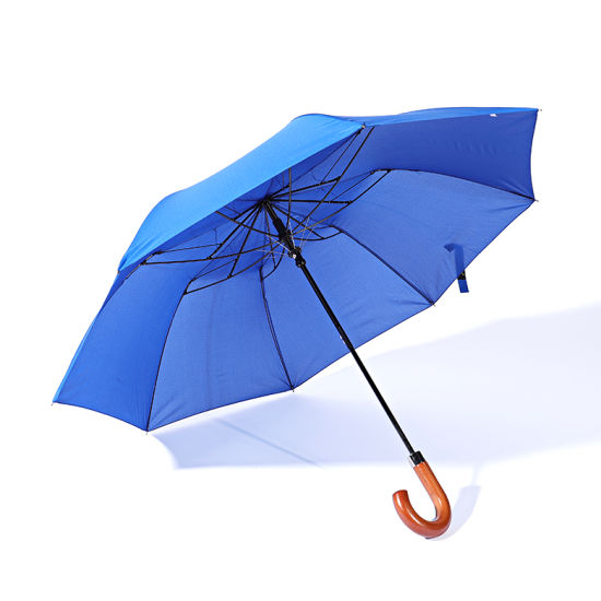 Rainproof Windproof Portable 2 Fold Umbrella with Wooden J Handle pictures & photos