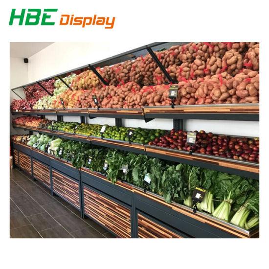 Fresh Shop Wall Corner Vegetable Fruit Display Rack with Mirror