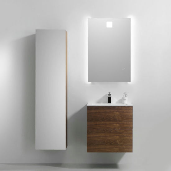 2018 Hot Selling MDF Bathroom Cabinets with LED Mirror #Blanche 600