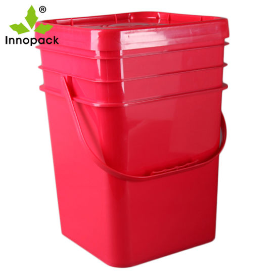5 Gallon/20L Square Buckets White Plastic Pail with Easy Tear Lid