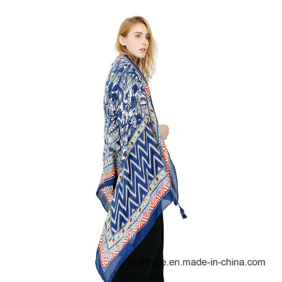 c5f1ad7e025 Blue Ethnic Style Print Blanket Scarf Big Warm Neck Scarves Women Luxury  High Quality Head Hijab Pashmina Shawl and Wrap