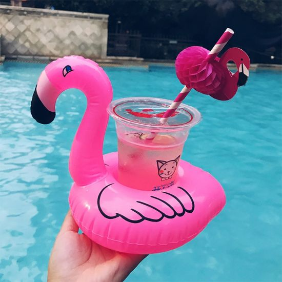 China Flamingo Floating Inflatable Drink Holder For Pool Swimming
