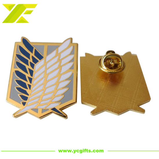 Factory Price Customized Police Badges Hard Enamel Metal Gold Plated Wing Shape Souvenir Lapel Pin Decoration Accessories for Promotion (BD09-C)