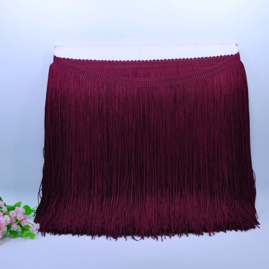 High Quality 20cm Black Nylon Double Thread Chainette Fringe for Lati