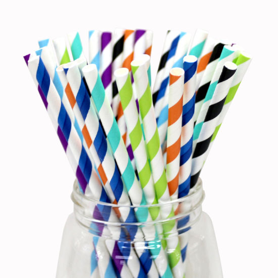 Colorful Striped Paper Straws Drinking Straws for Garden Party Straws