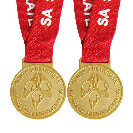 Custom Metal Craft South Australian Ice Skating Gold Medal with Ribbon (111)