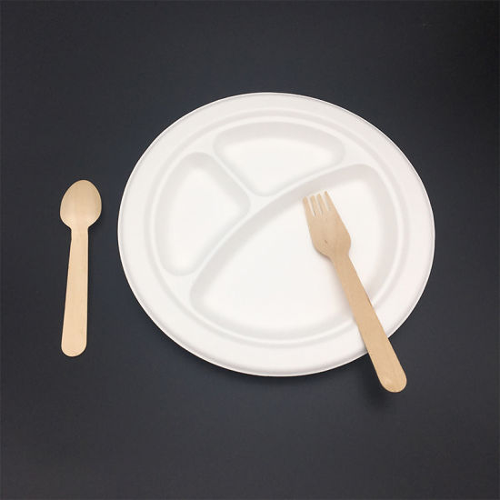china compostable take away 3 compartment round recycled bagasse