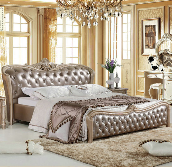 Royal Style King Size Bedroom Furniture Leather Bed With Button A8130 China Bedroom Set Bed Made In China Com