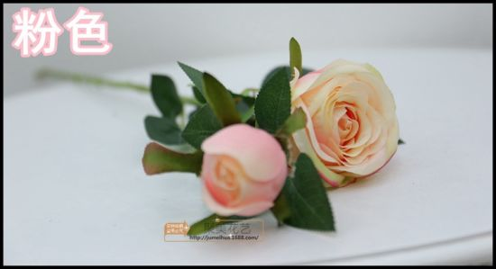 2 Branch Artificial Fake Rose Silk Flower for Wedding Decor