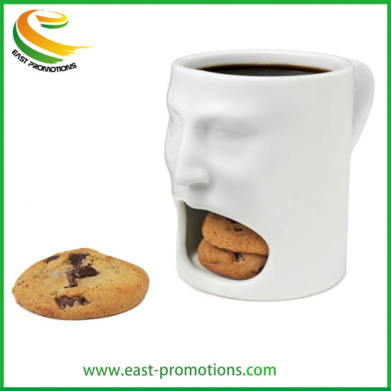 Custom 3D Ceramic Face Cookie Mug, Coffee Cup with Cookie Holder