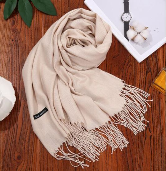 30PCS Customized Your Logo Faux Cashmere Tassel Shawl Wrap Scarf pictures & photos
