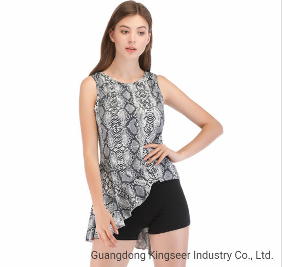 New Fashion Short Sleeved Snake Polyster Fabric Bottoming Shirt T Shirt Vest for Women Clothes