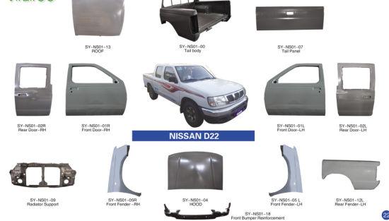 China Nissan D22 D23 Paladin Navara 2017 Metal Body Parts Door Fender Hood China Pickup Body Parts Nissan D22