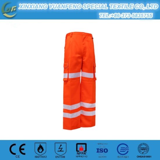 Baggy Cheap Orange Fireman Work Pant for Industrial with Reflective Tape