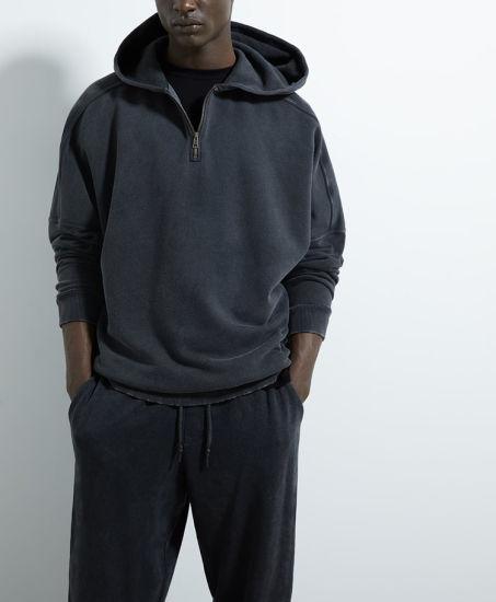 Wholesale Custom Oversized Long Sleeve Pullover Acid Wash Hoodie in Washed Black