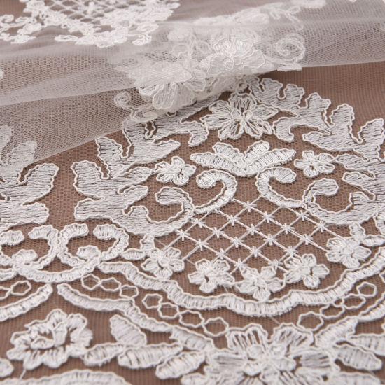 Ivory Scalloped Edge Alencon Corded Bridal Dress Lace Fabric