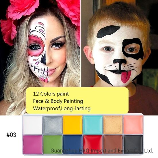 Festival World Cup Body Painting Play Clown Halloween Costume Party Makeup Face Paint 12 Colors Body Face Painted Make Up Flash Tattoo 96g China Halloween Body Paint And Halloween Face Paint