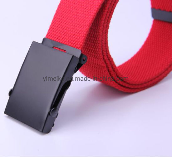Black Electrophoretic Rolling Buckle Polyster Fabric Men Belt 33 Colors