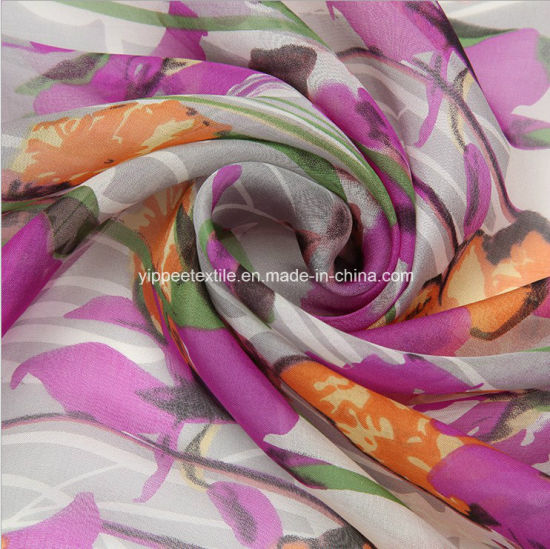 China Beautiful Printed Silk Chiffon Fabric China Silk