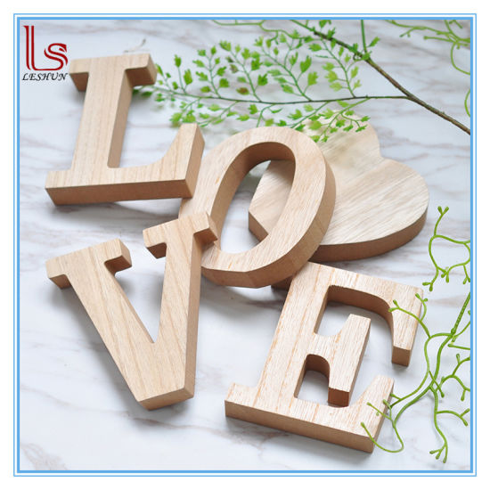 high quality eco friendly home small decorative wooden 3d alphabet