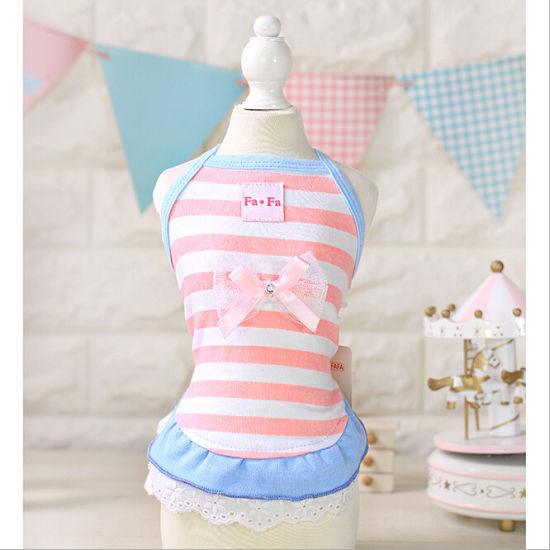Pet Products Fresh Striped Lace Dog Dress Factory pictures & photos