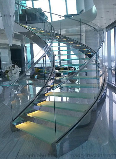Hot Sale Popular Steel Plate Glass Curved Staircase