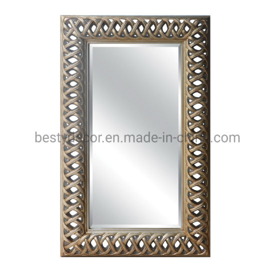 Rectangular Decorative Wall Mirror with PU Frame / Baroque Mirror Frame