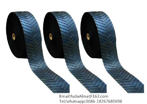 Abrasive Chevron Rubber Cleated Conveyor Belt