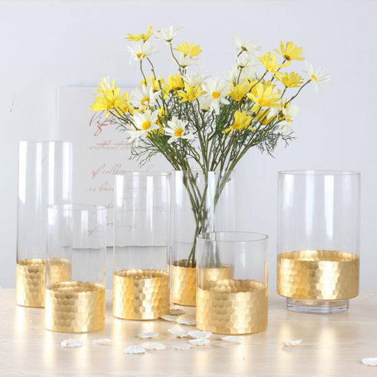 Wholesale Clear Glass Vase for Flower Arrangement with Gloden Bottom  sc 1 st  ANHUI IDEA TECHNOLOGY CO. LTD & China Wholesale Clear Glass Vase for Flower Arrangement with Gloden ...
